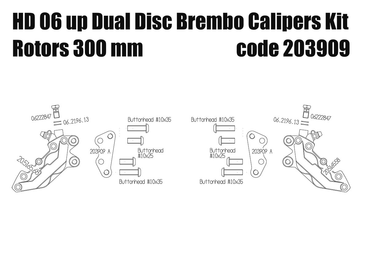 Front brake calipers 4 pot kit for Harley Davidson 2006 up