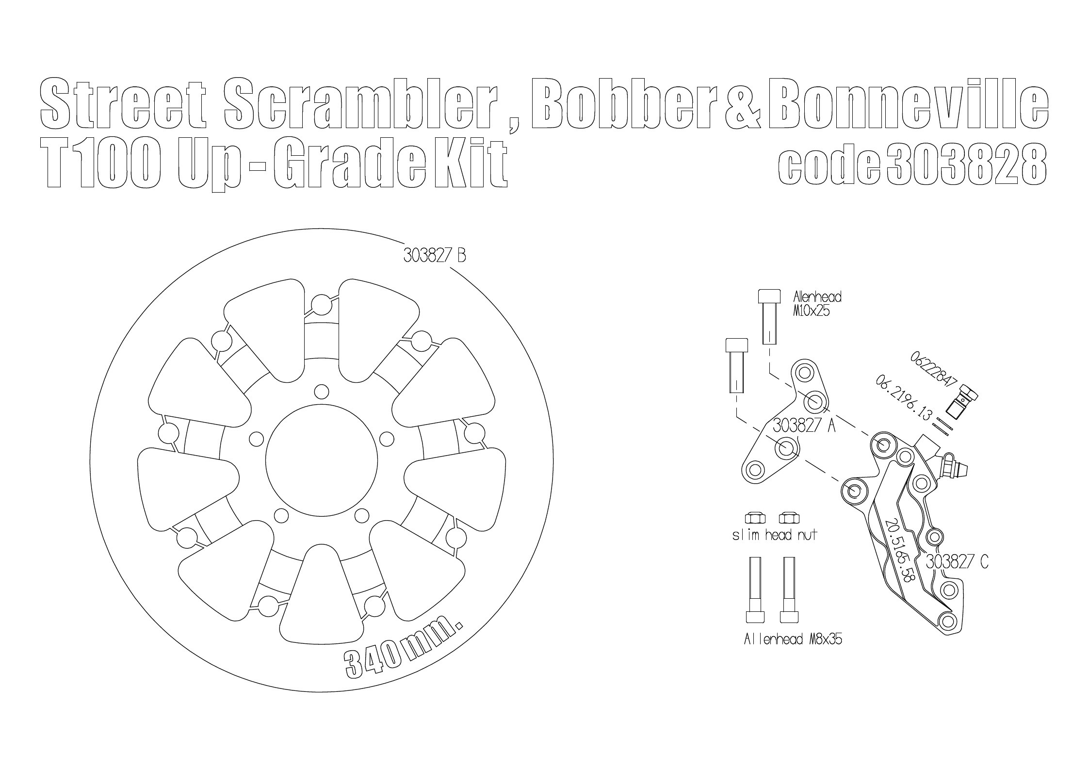 Bolt-in Upgrade braking kit for Triumph Bobber, Street
