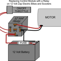 12 Volt Relay Wiring Diagram Of A Single Phase Dol Starter On Zap Bike How Do I Convert Control Module To And Then Follow The Below Install New Throttle Battery Should Be Last Component That Is Connected