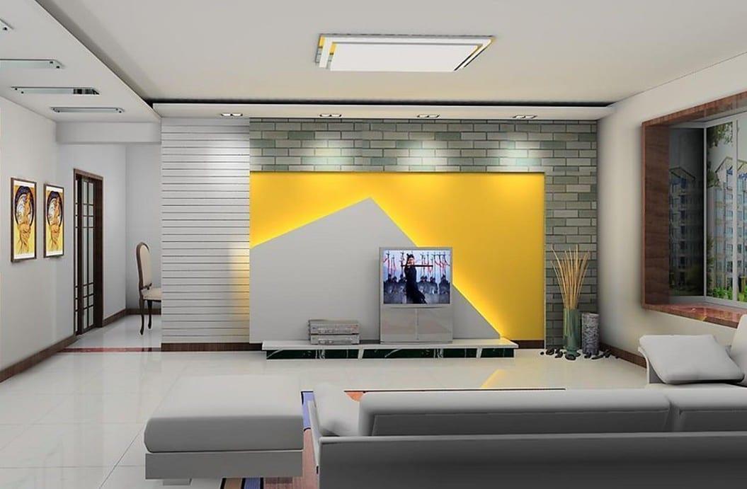 gelbe wand  moderne TV Wand  fresHouse
