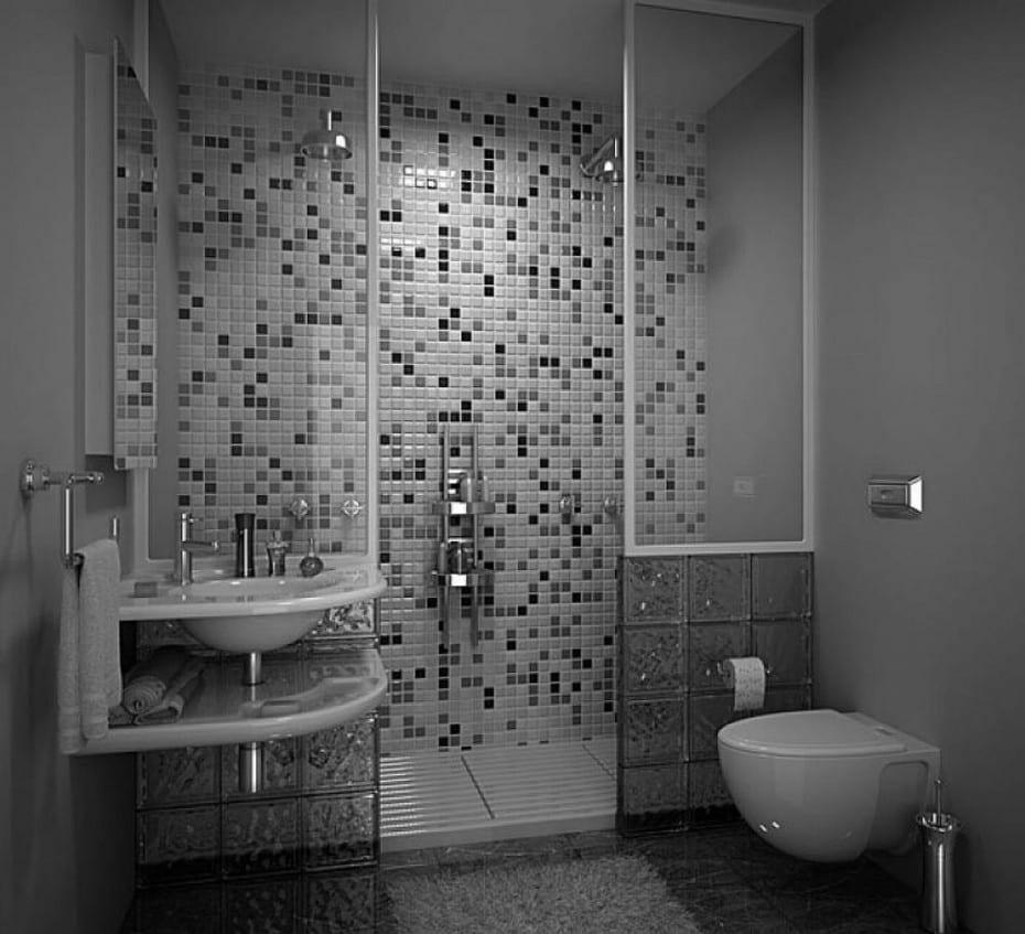 badezimmer grau design idee mit mosaik und glassteinen  fresHouse