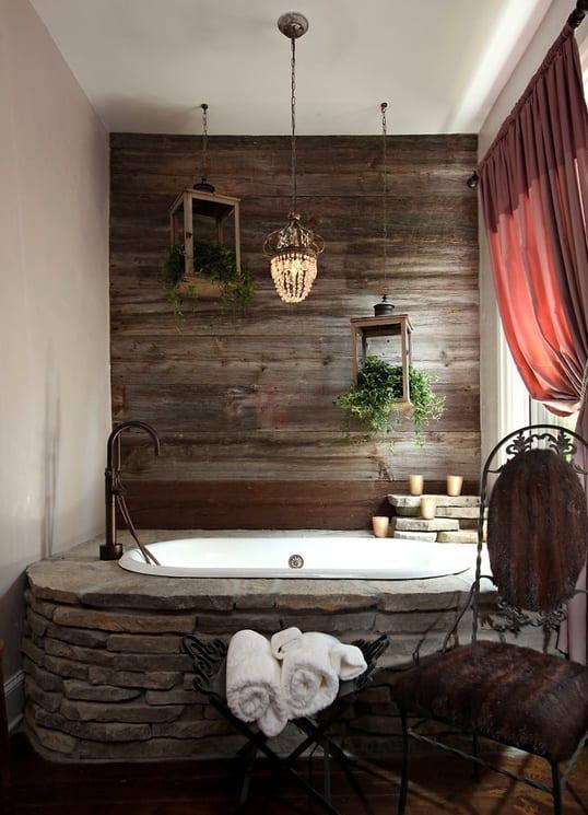 badezimmer interior mit holz und naturstein  fresHouse