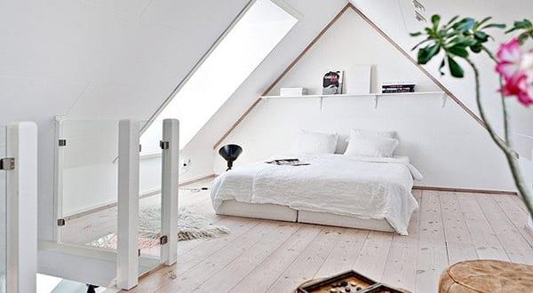 modernes schlafzimmer dachschrge mit dachfenster als