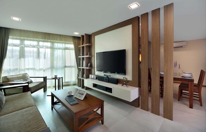 Tv wandpaneel aus Holz als raumteiler  fresHouse