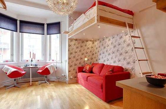 kleine Wohnung einrichten mit Hochhbett_ 1 zimmer wohnung einrichten