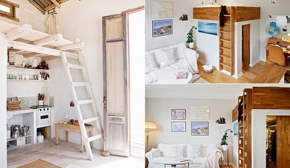 kleine wohnung einrichten mit hochbett_kreative einrichtungsbeispiele für kleine schlafzimmer