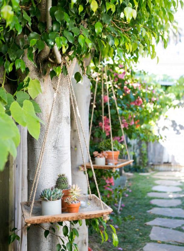 kreativegartengestaltungmitDIYHngegartenausHolzundSeilalsBaumdekoration  fresHouse