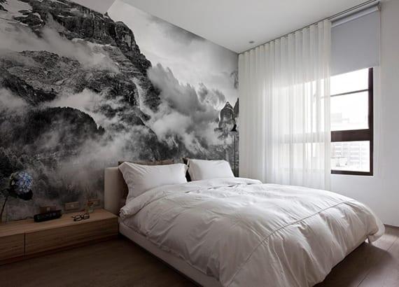 cooleschlafzimmerideenfreffektvollewandgestaltunghintermbettmitfototapete  fresHouse