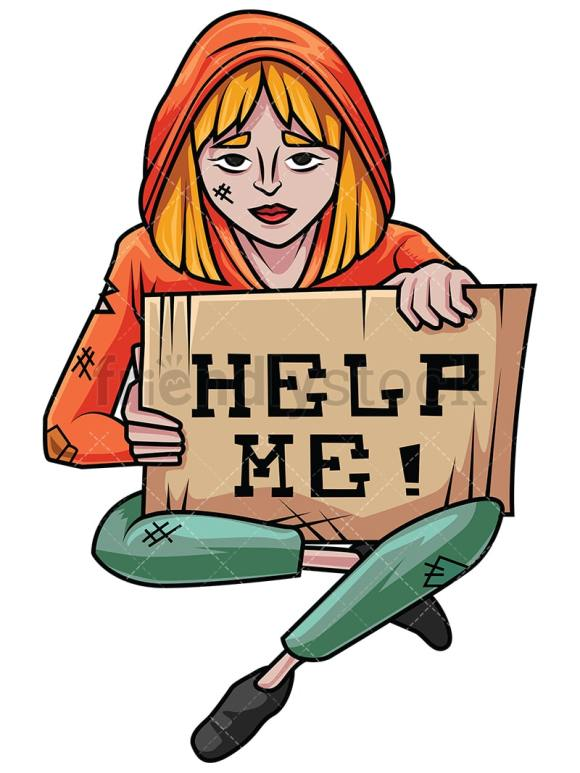 Homeless Woman In Need Of Help Vector Cartoon Clipart ...