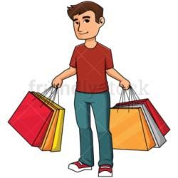 shopping clipart bag cartoon bags holding vector clip customer happy boy background friendlystock illustration transparent woman cart hand tag hair