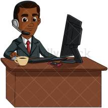 Black Man Working Customer Service Vector Cartoon Clipart