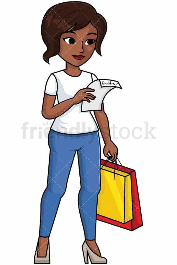 black woman reading shopping list