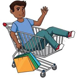 shopping clipart cartoon cart inside supermarket clip holding bags vector shopper friendlystock illustration background royalty bag comic