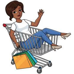 Black Woman Inside Shopping Cart Vector Cartoon Clipart