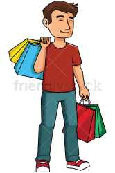 shopping happy cartoon clipart background satisfied vector friendlystock transparent satisfaction smiling