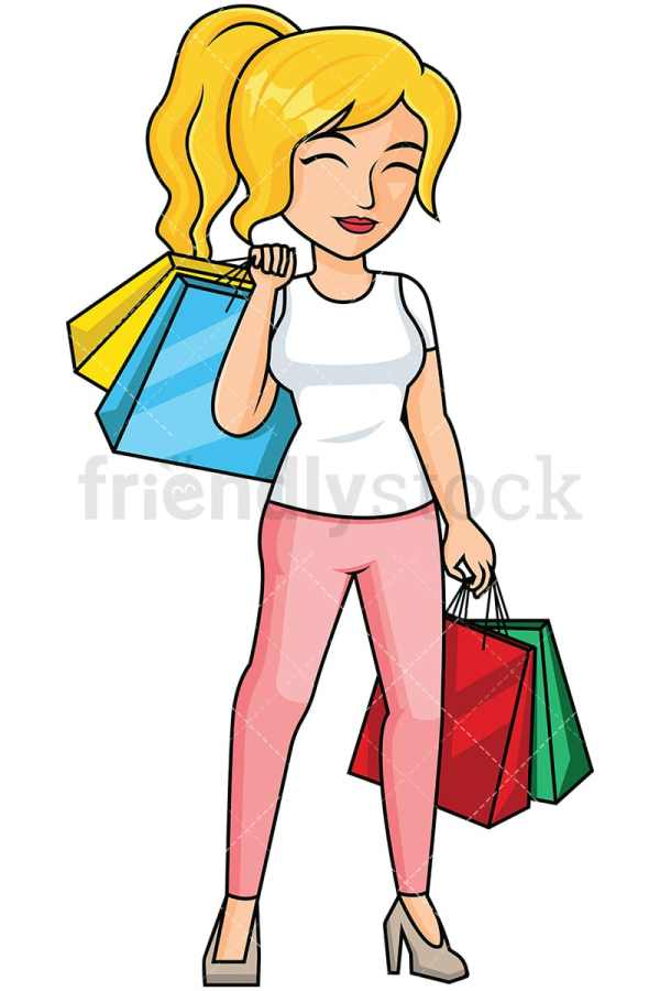Woman Shopping Feeling Satisfied Vector Cartoon Clipart - Friendlystock