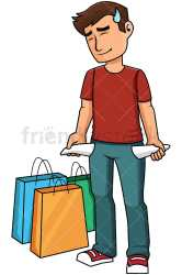 Man With Empty Pockets After Shopping Vector Cartoon