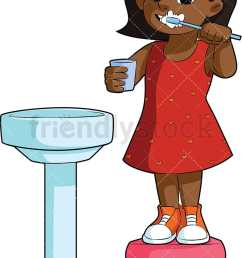 black girl brushing her teeth in the sink vector cartoon clipart [ 800 x 1200 Pixel ]