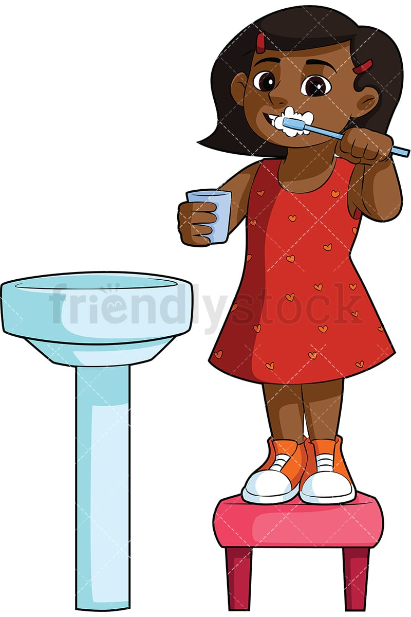 hight resolution of black girl brushing her teeth in the sink vector cartoon clipart