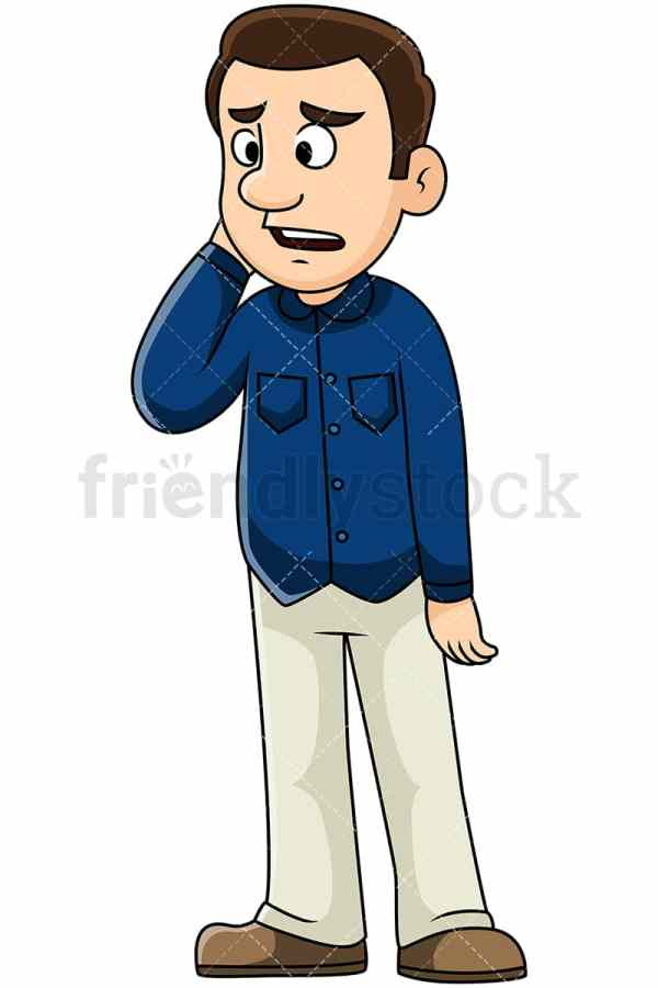 Sad Man Hearing Bad Vector Cartoon Clipart