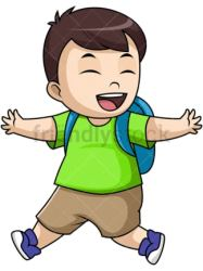 student boy clipart going cartoon pupil vector happy cheerful transparent background working
