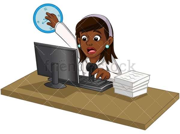 Overworked Black Businesswoman Cartoon Vector Clipart