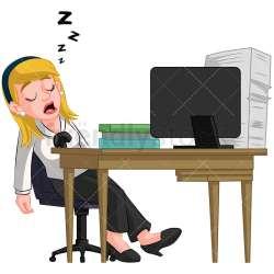 desk cartoon sleeping clipart office computer vector businesswoman asleep woman sitting napping business exhausted dormant friendlystock transparent background businessman legs