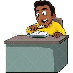 Black Man Eating Rice Cartoon Vector Clipart FriendlyStock