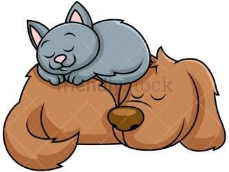sleeping cartoon cat dog together clipart nap clip friendlystock kitten pets taking dogs sleep vector napping cute drawing animals sleepy