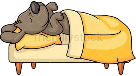 Cute Pet Dog Sleeping In Bed Cartoon Vector Clipart