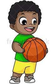 happy black boy holding basketball