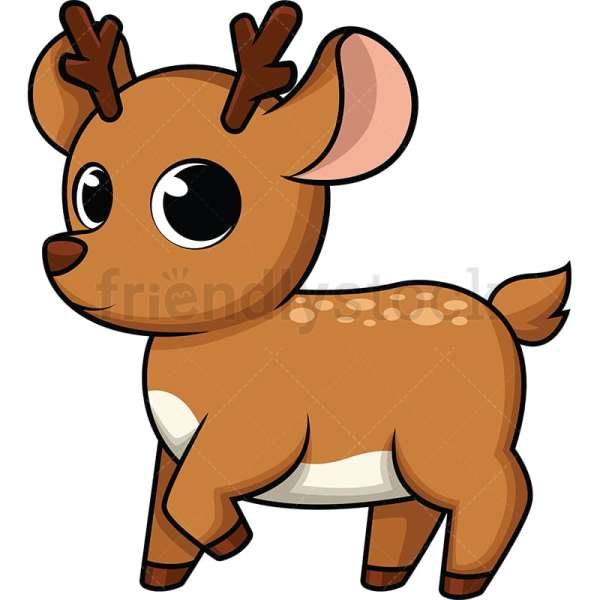 Cute Baby Deer Cartoon Vector Clipart - Friendlystock