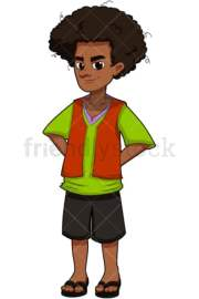 teenage boy wearing dungarees cartoon