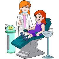 Happy Little Girl On Dentist Chair Cartoon Vector Clipart ...