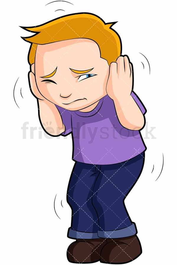 Scared Boy Hunched Over Covering Ears Cartoon Vector