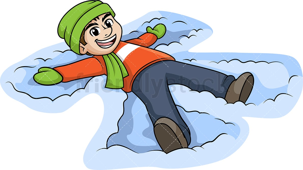 hight resolution of man making a snow angel vector cartoon clipart