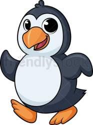 penguin running cartoon clipart vector walking power friendlystock wildlife animals