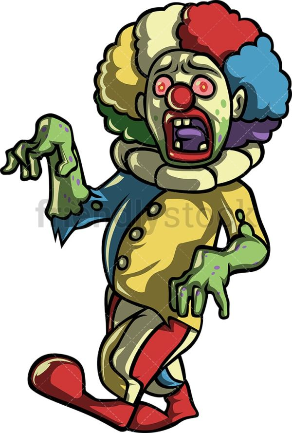 creepy scary clown zombie cartoon