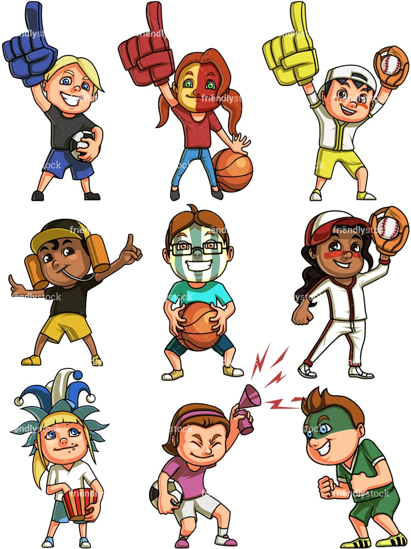 Kids Sports Fans Cartoon Clipart Vector - FriendlyStock