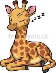 giraffe sleeping cartoon clipart animals vector friendlystock