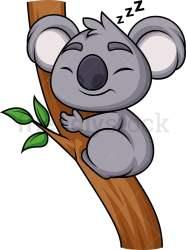 koala sleeping cartoon clipart vector tree friendlystock branch wildlife animals pdf