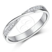 9ct White Gold Crossover Diamond Wedding Ring | eBay