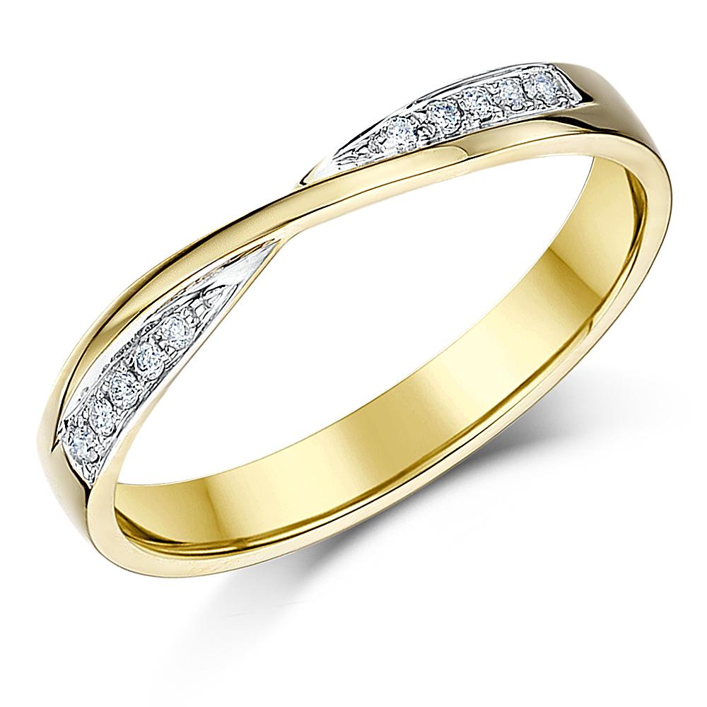 9ct Yellow Gold Wedding Ring Crossover Diamond 3mm Ring  eBay