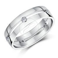 9ct White Gold Diamond Ring Set Wedding Ring Bands 5mm ...