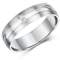 9ct White Gold Diamond Wedding Ring 6mm Princess Cut Ring ...