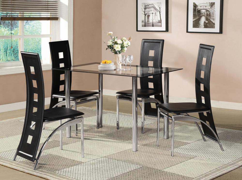 dinning room table and chairs gold chair rental black glass dining set with 4 or 6 faux leather chrome new