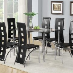 8 Seater Round Dining Table And Chairs Black Room Glass Set With 4 Or 6 Faux Leather Chrome New   Ebay