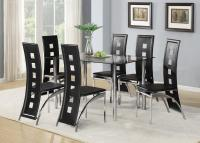 Black Glass Dining Room Table Set and with 4 or 6 Faux ...