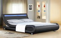 Italian Designer Faux Leather Bed with LED Strip 4ft6, 5ft ...