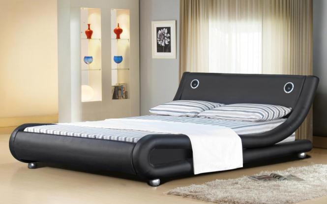 Italian Designer Faux Leather Bed With Bluetooth Speakers Mattress Option
